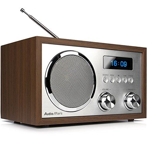 AudioAffairs DAB+Digitales Nostalgie-Radio, UKW-Retroradio mit Bluetooth, 2 Alarmzeiten mit Radiowecker, Aux-in, Kopfhörereingang