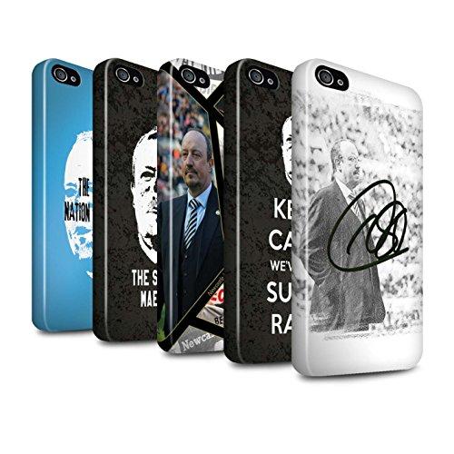 Officiel Newcastle United FC Coque / Brillant Robuste Antichoc Etui pour Apple iPhone 4/4S / Maestro Espagnol Design / NUFC Rafa Benítez Collection Pack 8pcs