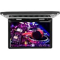 MiCarBa 12.1 pulgadas Flip Down Monitor 1080P HD TFT LCD Overhead Car TV Pantallas Ultra Thin Roof Mount Monitor HDMI SD Reproductor de MP3 MP4 con botón LED retroiluminado y luz ambiente (Negro)