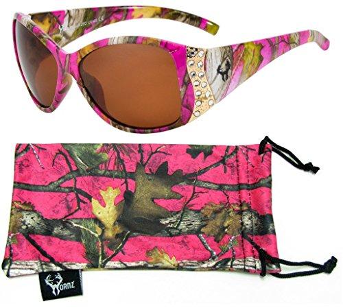 Hornz Pink Camouflage polarisierten Sonnenbrillen für Damen Strass Akzente & freie passende Beutel aus Mikrofaser - Heiß Rosa Camo Rahmen - Bernstein Objektiv