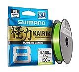 SHIMANO Kairiki 8, 150 Meter, Mantis Grün, 0.130mm/8.2kg, 8fach Geflochtene Angelschnur,...