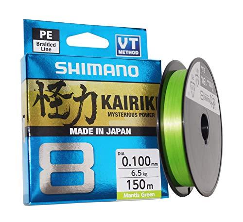 SHIMANO Kairiki 8, 150 Meter, Mantis Grün, 0.130mm/8.2kg, 8fach Geflochtene Angelschnur, 59WPLA58R02