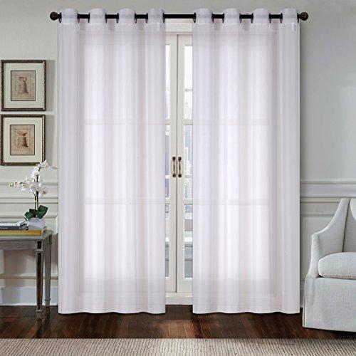 OBdeco Gardine Vorhang Elegante gardinen Transparent Voile Gardinenschals vorhänge Fenster mit Ösen 2 Stück (Weiß, Stoff:140cmx245cm)