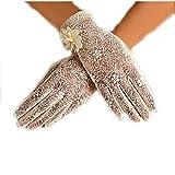 URSFUR Damen Schöne Hochwertige Spitze Sommer Sonnenschutz Handschuhe Netzhandschuhe spitzenhandschuhe Brauthandtuche - Beige