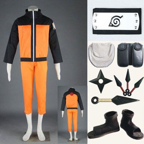 Für Cosplay Verkauf Kostüm Naruto - Sunkee Sunkee Japanische Anime Naruto Uzumaki Naruto Cosplay Kostüm-Set, Uzumaki Naruto Kostüm + Uzumaki Naruto Stirnband + Ninja-Schuhe + Zubehör, Größe M
