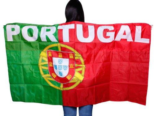 Preisvergleich Produktbild Alsino Flagge Cape Fankostüm Fanumhang Deutschland Fan Umhang Fahnenumhang Fahne Fahnencape Poncho,  wählen:UF-10 Portugal