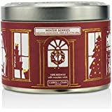 The Candle Company Tin Can 100% Beeswax Candle With Wooden Wick - Winter Berries (Redcurrants, Blackcurrants, Violets Lily Of The Valley) - (8x5) Cm