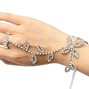 FemNmas Crystal Rhinestone Silver Ring Chain Hand Bracelet with Floral Design Haathfool Design for Women & Girls