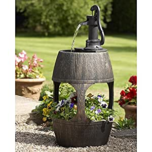Barrel Water Feature and Planter With Built In Water Reservoir