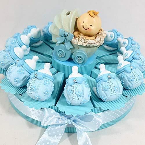 Bomboniere Nascita Battesimo Femmina o Maschio a seconda della Scelta (Torta biberon Celeste)