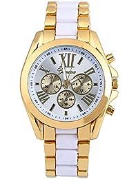 Geneva Dual Tone Gold & White Metal Link Analog Watch For Men