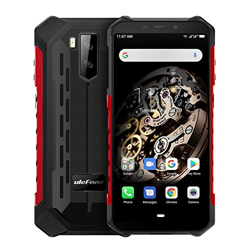 Ulefone Armor X5 (2019) 4G Android 9 Outdoor Handy Smartphones, 32GB Speicher 3GB RAM 5000mAh Akku Smart Button wasserdichte Kamera, Unterwassermodus, Handschuhmodus, 5,5 Zoll, Face WiFi GPS FM Rot