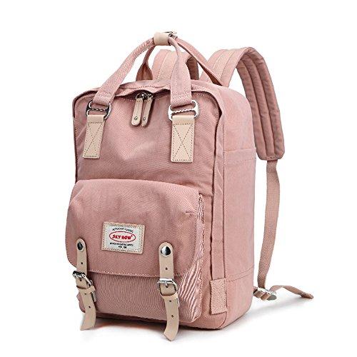 FEEHAN Unisex Rucksack feehan Mini,22x 8.5 x 31cm,Damen Herren Vintage Studenten Schule Nylon Rucksack Schulrucksack Grau (rosa) (Mini-nylon-rucksack)