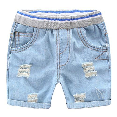 NiSeng Kinder-Shorts Sommer Gebrochen Zerrissen Jeans Shorts Baby Jungen Mädchen Short Elastische Taille Cowboy Kurze Hose HellBlau 110 (Baby-jeans-shorts)