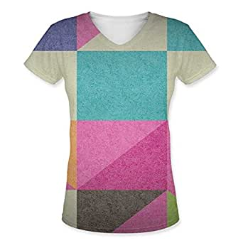 Snoogg Abstract Signs Womens Casual V-Neck All Over Printed T Shirts Tees
