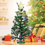KEY NICE Künstlicher Weihnachtsbaum Tannenbaum Christbaum, 45cm Geschmückter Baum mit 20 Stücke Baumschmuck für Weihnachten, Partei, Hauptdekoration (Grün)