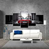 FJLOVE Impression Giclée en Décoration Voiture De Sport Rouge Mercedes Peinture sur Toiles 5 Panneau Artwork Déco d'art Murale Decor Cadre,Woodenframed,100X55cm