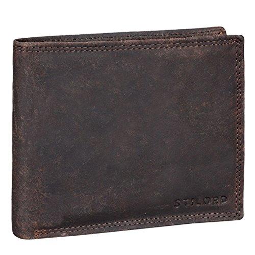 STILORD 'Franco' Cartera de auténtica Piel para Hombre diseño Vintage Billetera y Monedero con Ranuras para Tarjetas Billetes DNI de Cuero Genuino, Color:Ancona - marrón