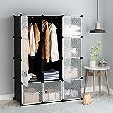 Tespo Interlocking Storage Cube Organizer Modular Shelving Storage Organizing Closet Wardrobe Cabinet Storage Shelf, 111 ×47 ×147 cm, 12 Deeper Cubes, Black
