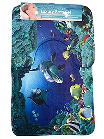 Bath mat set 2 piece non slip pedestal mat printed luxury bathroom rug new (Dolphin Print)