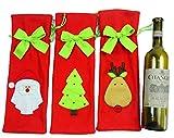 nalmatoionme 3Weihnachten Wein Flasche Tasche Weihnachtsmann Deer Weihnachtsbaum Geschenkpapier Kordelzug Tasche Muster