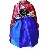 Cacilie® Prinzessin Kostüm Kinder Glanz Kleid Mädchen Weihnachten Verkleidung Karneval Party Halloween Fest (110 (Körpergröße 110cm), Anna #07)