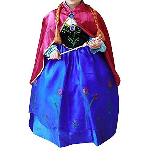 Cacilie® Prinzessin Kostüm Kinder Glanz Kleid Mädchen Weihnachten Verkleidung Karneval Party Halloween Fest (110 (Körpergröße 110cm), Anna (Halloween Kostüm)