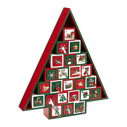 Christmas Wooden 'Tree' Advent Calendar (With 24 Drawers) by SGH