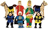 Melissa & Doug Castle Poseable Wooden Doll Set (8 pcs) for Castle and Dollhouse (8-10 cm each)