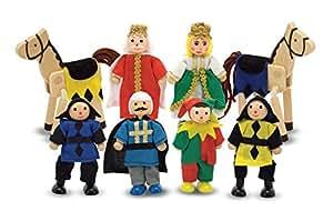 Melissa & Doug Castle Poseable Wooden Doll Set (8 pcs) for Castle and Doll's House (8-10 cm each)