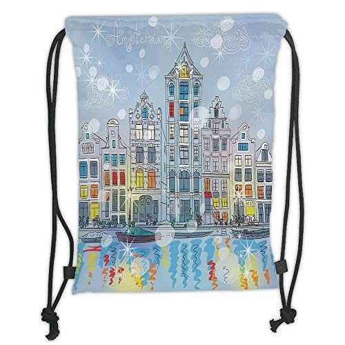 Drawstring Backpacks Bags,Christmas,Noel Time at Amsterdam Canal with Historical Famous Buildings North Europe Design,Multicolor Soft Satin,5 Liter Capacity,Adjustable String Closu - Amsterdam Hobo