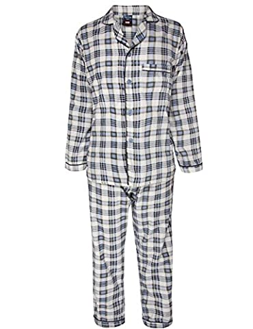 Alberto Rossini Mens Winter Winceyette Flannel Pyjamas Brushed Cotton Nighwear Sizes M to XXl (Large, Cream & Blue)