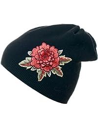 Mevina Damen Mütze Rosen Patch Angora Feinstrick Wintermütze Damen Beanie Patches