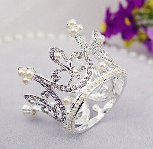 Bridal Wedding Party Baby Pearl Rhinestone Full Circle Round Mini Crown Tiara Princess Crown by Sunshinesmile
