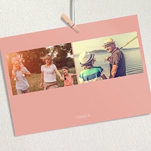 """Fotocollage Postkarten, Fotogeschenk \""""Fotokarte Duo Zartes Rosa\"""", für min. 16 individuelle Fotos, 16 Karten in Fotobox, Rosa"""