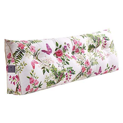 Coussins Coussin coussin souple triangle coussins taille protecteur dos coussins oreiller belle belle papillon amour fleur chambre tatami canapé oreillers longs (Color : Blanc, Size : 90cm)