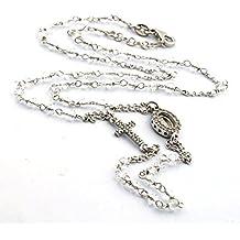 Chapelet Ras du cou avec pierres sfacettate Binche avec Madonna et croix zirconata en argent 925sterling plaqué or blanc, longueur 50cm