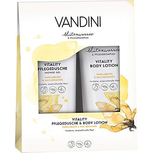 VANDINI VITALITY Geschenkset Vanilleblüte & Macadamiaöl Inhalt: Pflegedusche 200 ml, Body Lotion 200 ml