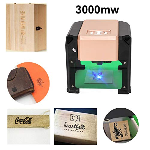 Smartlife Máquina De Grabado Láser 3000Mw Grabador Láser Portátil Impresora Mini DIY Laser Engraver Maquina Laser,Área De Grabado: 75x75 Mm