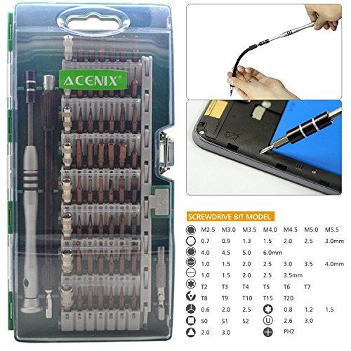 Preisvergleich Produktbild ACENIX Universal Reparaturset 60in 1Präzision magnetischen Schraubendreher-Set mit 56magnetisch Driver Kit und 1Akkuschrauber Accessory Kit, Electronics Repair Tool für Handy, Tablet, Spielekonsolen, PC, MacBook, Elektronik