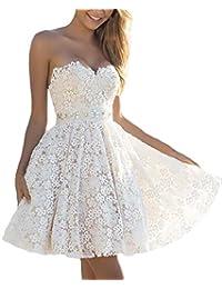 Vestiti Donna Eleganti da Cerimonia Corti Vestito Moda Giovane da Damigella  Principessa A Pieghe Abito da Bridesmaids Pizzo Bianco… 39f6a7c69fb