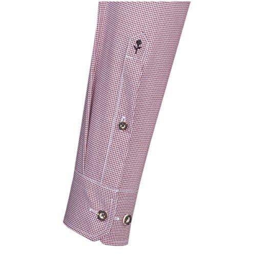SEIDENSTICKER Herren Hemd Slim 1/1-Arm Bügelfrei Karo City-Hemd Kent-Kragen Kombimanschette weitenverstellbar rot (0046)