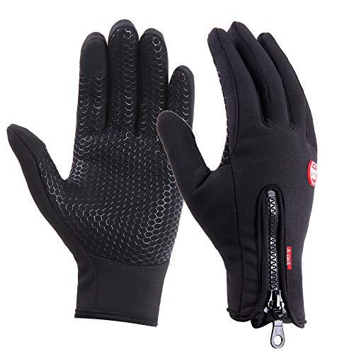 Brudergo wasserdichter Touchscreen Handschuhe Winter Fahrradhandschuhe Laufhandschuhe Sporthandschuh mit Touchscreen Funktion (Schwarz, M(Palm Breite Ca. 8,5cm))