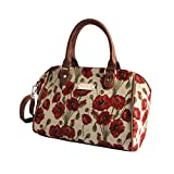 Poppy Bowler Bag by Signare | Tapestry Stylish Handbag | 30x20x14 cm | (BOWL-POP)