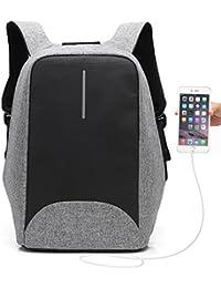Mochila Antirrobo UBaymax USB Mochila de seguridad con cargador, Mochila Bolsa Impermeable de colegio viaje negocios, Mochila para ordenador portátil 15.6, regalo para estudiantes/hombre /mujer (USB-Gris)