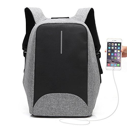 UBaymax Anti-diebstahl Laptop Rucksack mit USB Ladeanschluss, 15,6 Zoll Wasserdicht Canvas Schulrucksack Daypack, Unisex Business Reise Schule Notebook Rucksack für Herren Damen (Grau)