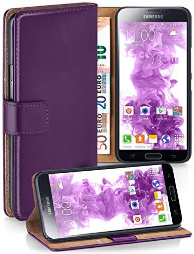 moex® Booklet mit Flip Funktion [360 Grad Voll-Schutz] für Samsung Galaxy S5 | Geldfach und Kartenfach + Stand-Funktion und Magnet-Verschluss, Lila