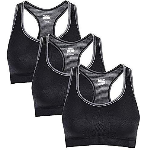 WADEO Damen Sport BH Yoga BH Sport Bra Komfort Compression Brüste Starker Halt Große für Fitness Lauf XL Größe