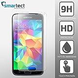 SmarTect® Samsung Galaxy S5 Premium Tempered Glass Displayschutzfolie aus gehärtetem Gorilla Glas (Hartglas / Schutzglas / Panzerglas) - Screen Protector mit Härtegrad 9H (0,33 mm, gerundete Kanten)