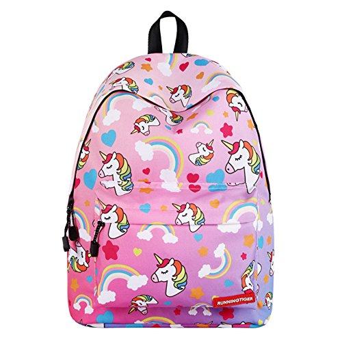 GINDOLY Mode Schulranzen Büchertasche Chic Reiserucksack für Teenager Mädchen, sehr niedlich Druck Rucksäcke (Einhorn  Rosa) EINWEG